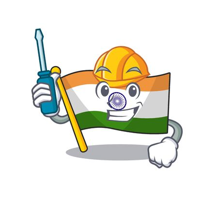 Automotive indian flag kept in cartoon cupboard