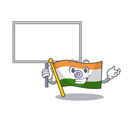 Bring board Indian flag kept in cartoon drawer Ilustração