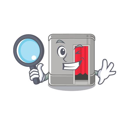 Detective cartoon photo booth in living room vector illustration