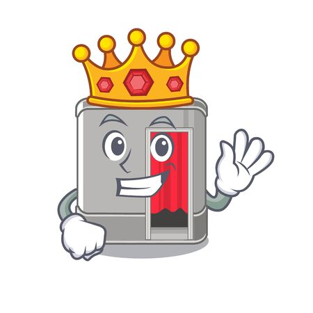 King photo booth next to mascot table vector illustration