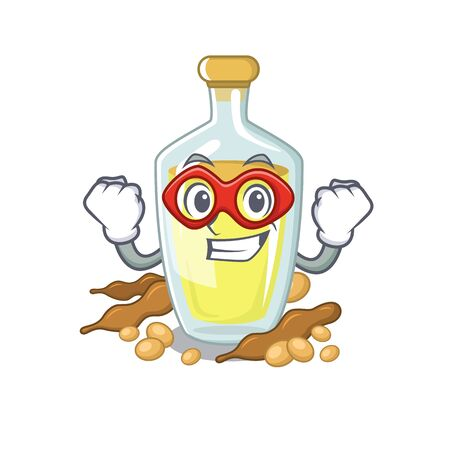 Super hero soybean oil in a mascot bowl