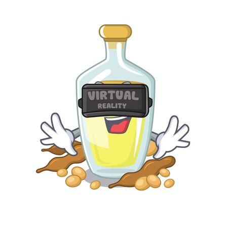 Virtual reality soybean oil isolated in the cartoon vector illustration Ilustração