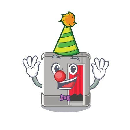 Clown photo booth next to mascot table vector illustration Ilustração