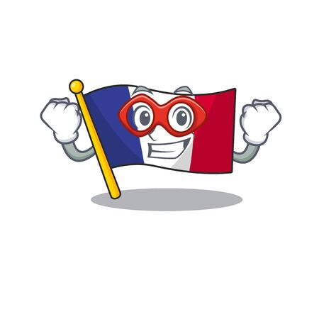 Super hero flag france isolated with the mascot