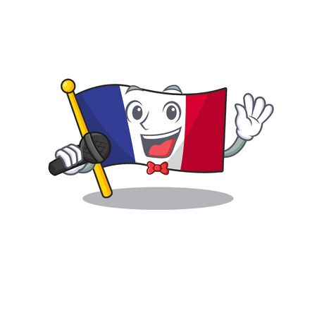Singing flag france in the cartoon shape vector illustration Ilustração