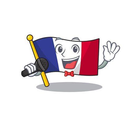 Singing flag france in the cartoon shape vector illustration Illustration