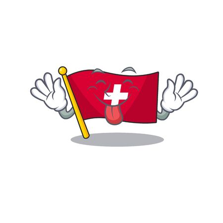 Tongue out switzerland flag sticks to cartoon wall