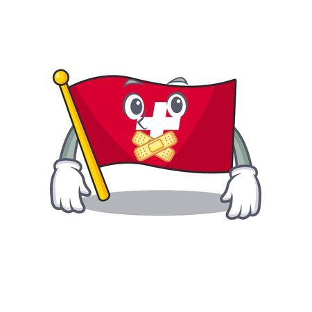 Silent switzerland flag sticks to cartoon wall