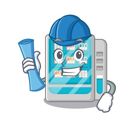 Architect medicines vending machine in character shape vector illustration