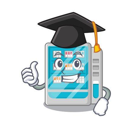 Graduation medicines vending machine in character shape vector illustration 일러스트
