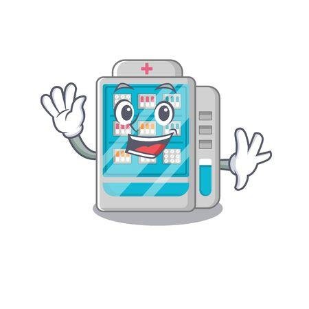 Waving medicines vending machine in character shape vector illustration Illustration