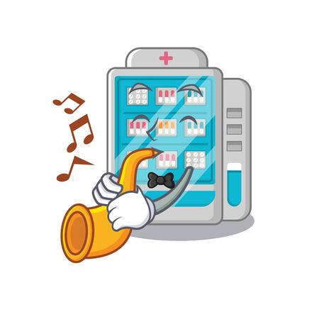 With trumpet medicines vending machine isolated the cartoon