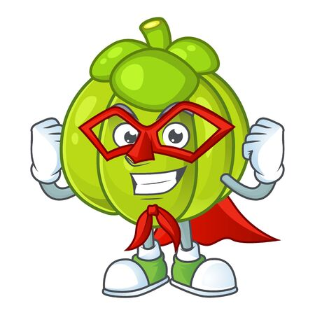 Super hero green pumpkin isolated on white background
