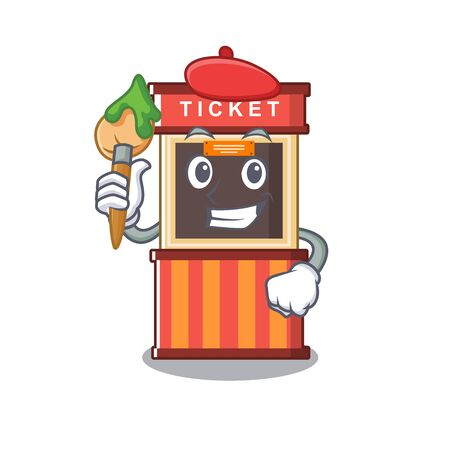 Artist ticket booth edge of mascot table Stock Illustratie