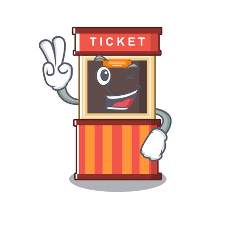 Two finger ticket booth in the cartoon shape
