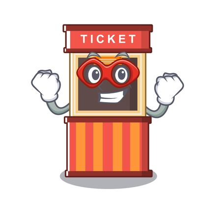 Super hero ticket booth in the cartoon shape
