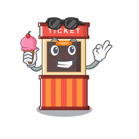With ice cream ticket booth in the cartoon shape