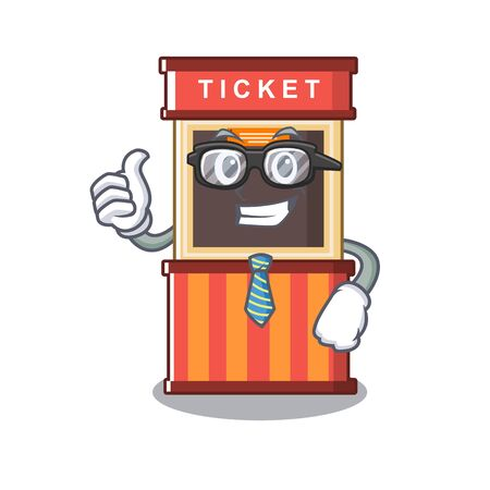 Businessman ticket booth in the cartoon shape Çizim