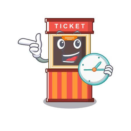 With clock ticket booth in the cartoon shape Illustration
