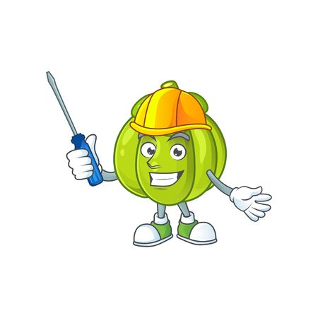 Automotive green pumpkin on the cartoon character vector illustration Ilustração