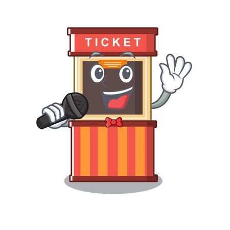 Singing ticket booth isolated with the cartoon vector illustration