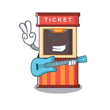 With guitar ticket booth isolated with the cartoon