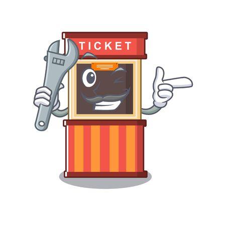 Mechanic ticket booth in the character door 向量圖像