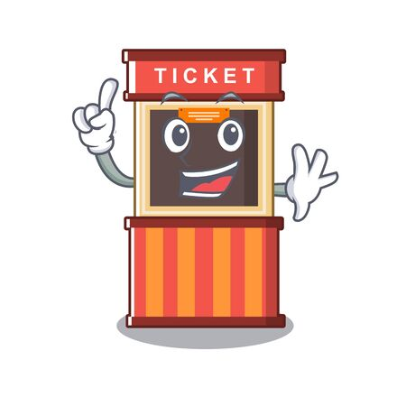 Finger ticket booth in the character door 向量圖像