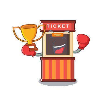 Boxing winner ticket booth in the character door 向量圖像