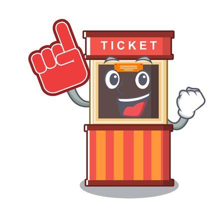 Foam finger ticket booth in the character door