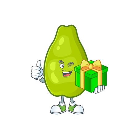 With gift papaya character cartoon with funny face. Vector illustration funny and healthy food cartoon