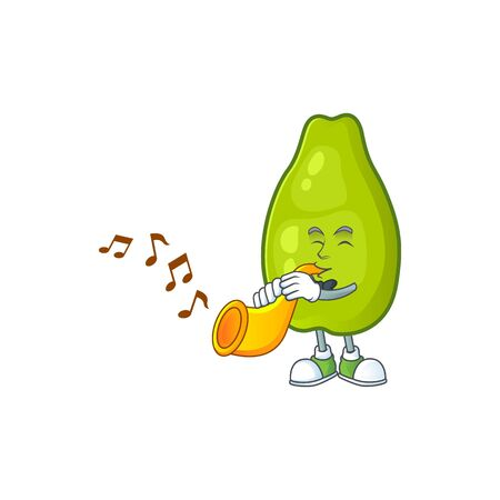 With trumpet papaya character cartoon with funny face. Vector illustration funny and healthy food cartoon