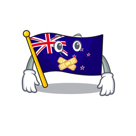 Silent flag new zealand in cartoon drawer Illustration