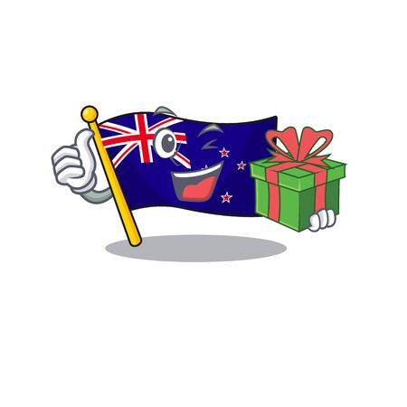 With gift flag new zealand with cartoon shape vector illustration 向量圖像