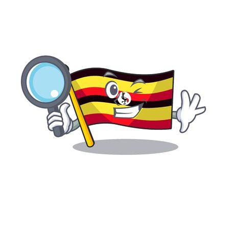 Detective flag uganda in the mascot shape Stock Illustratie