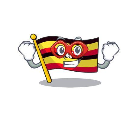 Super hero flag uganda in the mascot shape