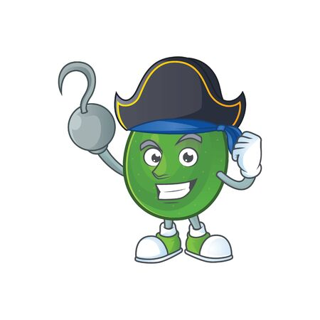 Pirate avocado fruit character on white background