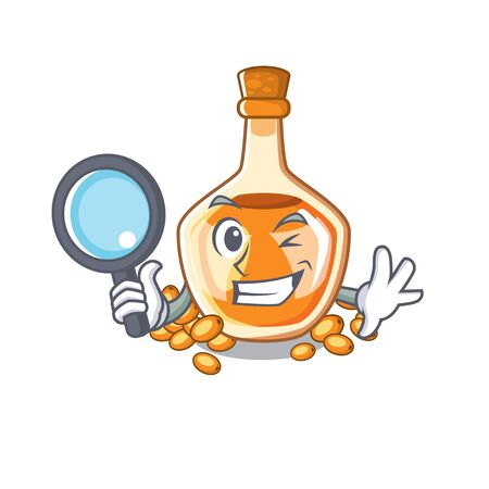Detective sea buckthorn oil isolated on mascot