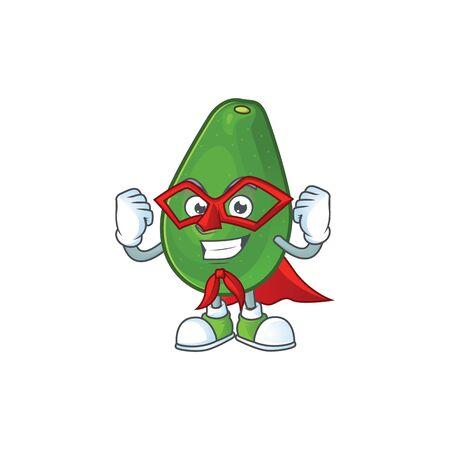 Super hero cute avocado cartoon on white background