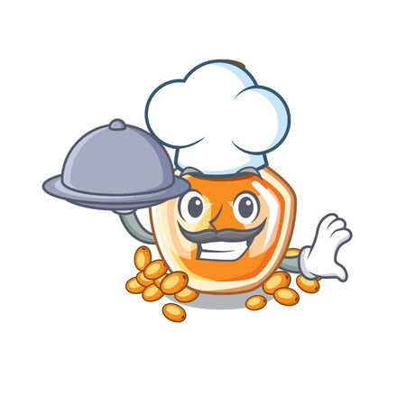 Chef with food sea buckthorn oil in cartoon bowl