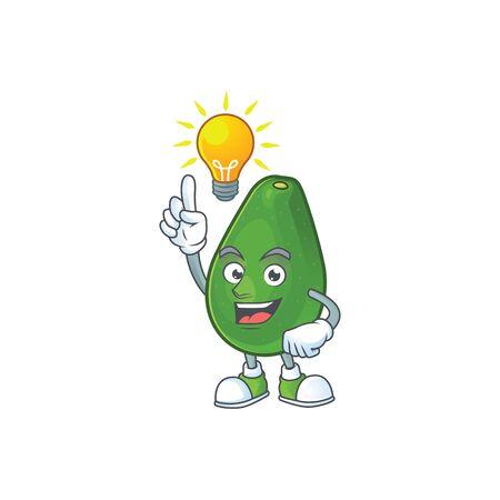 Have an idea avocado fresh on white background mascot 向量圖像