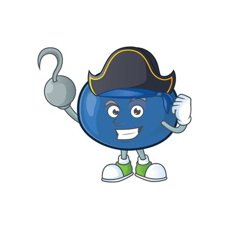 Pirate cute and fresh blueberry fruit character cartoon.