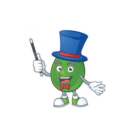 Magician avocado fresh on white background mascot vector illustration