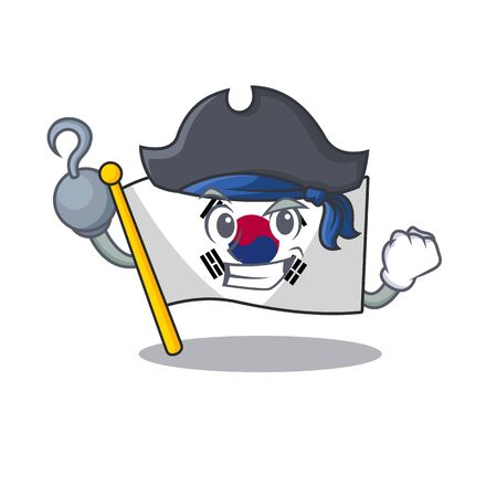 Pirate korean flag cartoon fluttering on pole vector illustration