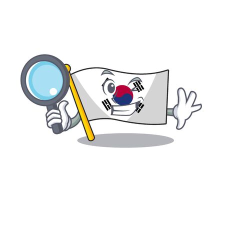 Detective korean flag in the cartoon shape illustration vector Çizim