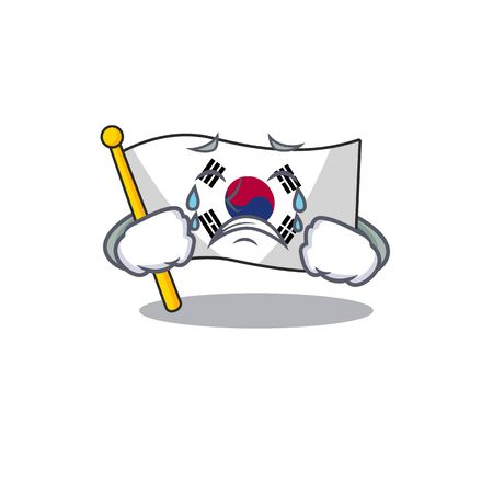 Crying flag korea isolated with the mascot vector illustration