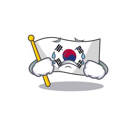 Pleurer le drapeau de la Corée isolé avec l'illustration vectorielle de mascotte