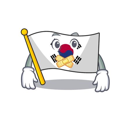 Silent korean flag stored in character drawer vector illustration