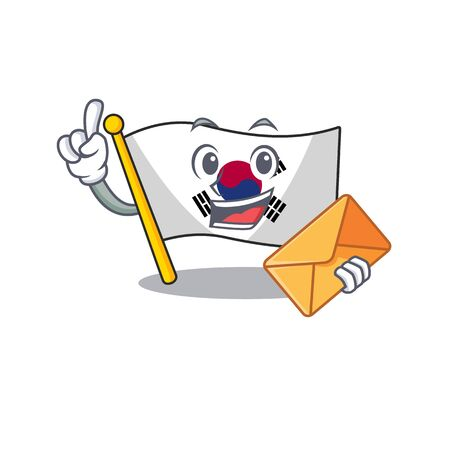 With envelope korean flag in the cartoon shape illustration vector Çizim