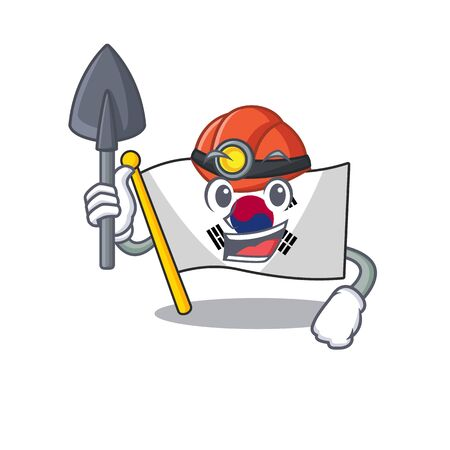 Miner flag korea isolated with the mascot vector illustration
